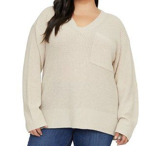 Sanctuary Shaker V-Neck Pocket Sweater Size 1X